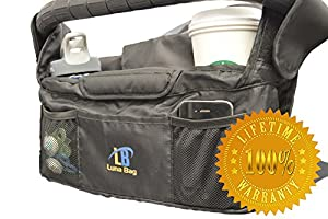 Stroller Organizer By Luna Bag - Very High Quality Stroller Accessory - 100% Lifetime Guarantee - Universal fit for Uppababy, Britax, Skip Hop, BOB, Baby Jogger, Umbrella, City Mini GT And Select, Maclaren, Reversible, Some Double Strollers, And More - Each Extra Cup Holder Is Insulated To Keep Drinks Cold Or Warm - Deep Insulated Middle Compartment - Best Quality Fabric And Stitching