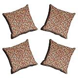 MeSleep Digitally Printed Digital Leaf Micro Fabric 4 Piece Cushion Cover Set - Beige