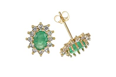 9ct Gold Real Emerald & Cubic Zirconia Stud Earrings