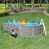 Blue Wave Belize 12-Feet by 24-Feet Oval 48-Inch Deep 6-Inch Top Rail Metal Wall Swimming Pool Package