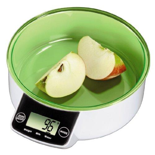 Xavax Balance de cuisine Saskia, de 1 à 5000g, avec récipient amovible, blanche et verte