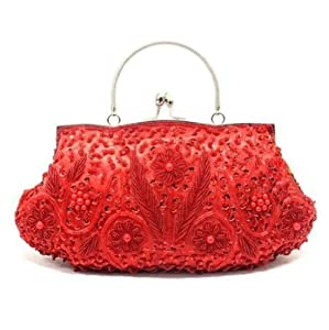 Antique Retro Flower Garden Embellished Seed Bead Sequin Kiss Closure Clasp Soft Clutch Evening Bag Purse Handbag with Handle/Detachable Shoulder Chain (Red)