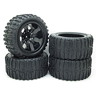Rc 1/10 Truck Off-road Car Rubber Tires + 7 Spokes Wheel Rim Black Rc Car Parts Pack of 4