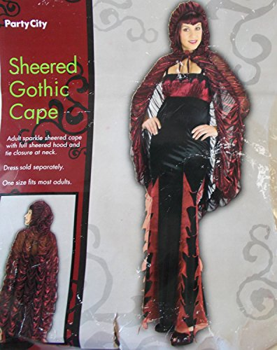 Sheered Red Gothic Cape Adult Costume OSFM NIP