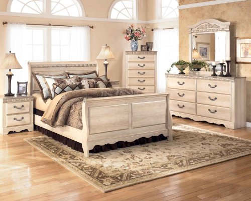 Ashley Silverglade Sleigh Bedroom Set In Light Wood