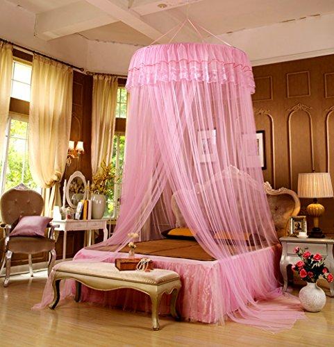 LifeWheel-Romantische-Prinzessin-Runden-Spitzen-Betthimmel-Moskitonetzen-Kuppel-Bett-Netting-Baldachin-Vorhang-Moskitonetz-Rosa
