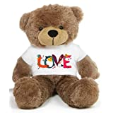 Brown 2 Feet Big Teddy Bear Wearing A Beautiful Love Design T-shirt