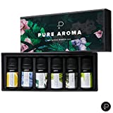 PURE AROMA Essential Oils - Top 6 Aromatherapy Oils in 1 Box (10 Ml)