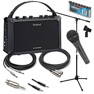 roland mobile ac acoustic guitar amp pak w microphone stand cables musical. Black Bedroom Furniture Sets. Home Design Ideas