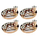 King Traders Designer Traditional Indian Copper Dinner Set/Thali Set- Set Of 4