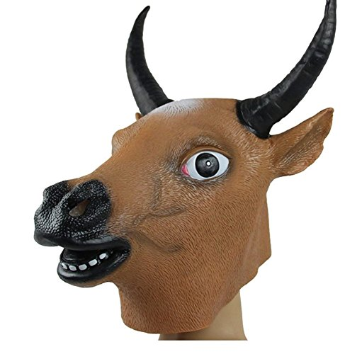 Gmasking Natural Latex Khaki Cow Bull Head Mask Costume
