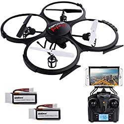 U818A Updated WiFi FPV RC Drone with 2MP HD Camera DBPOWER 2.4Ghz 4CH 6Axis Gyro Quadcopter Gravity Induction Headless Mode Low Voltage Alarm 2 Batteries