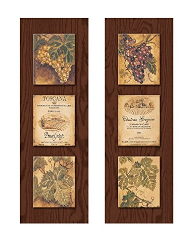 Wine Country Wine Label and Grape Panels;Two 8 x 20 Poster Prints (Printed on paper, made to look like wood) (Wine Country Art compare prices)