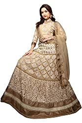 Jiya Presents Embroidered Net Lehenga Choli(Beige)