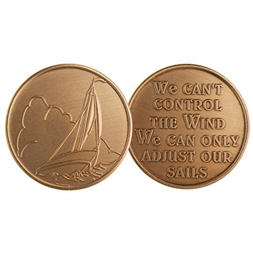 Sailboat - Wind Direction - Bronze AA (Alcoholics Anonymous) -ACA-AL-ANON - Sober / Sobriety / Affirmation / Desire / Medallion / Coin / Chip