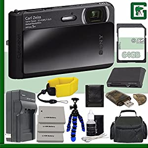 Sony Cyber-shot DSC-TX30 Digital Camera (Black) + 64GB Green's Camera Bundle 4