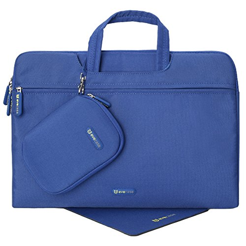 Evecase 15- 15.6-inch Nylon Fiber Waterproof Universal Carrying Briefcase Bag with Handles + Acessories Bag + Mouse Pad for Notebook, Chromebook, Macbook, laptop and Ultrabooks - Blue (Hp Touchsmart 15 Protective Case compare prices)