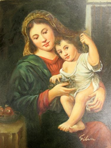 MADONNA & CHILD Virgin Mary holding Jesus Icon Oil Painting Canvas 11x14