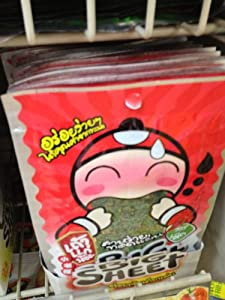 12 Fried Crispy Japanese Seaweed Snack Tao Kae Noi Hot & Spicy Flavor BIG Sheet by BIG SHEET