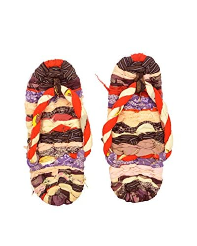 Vintage Colorful Woven Japanese Geta Shoes, Multi