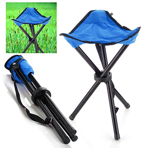 Camping Folding Stool (Blue) Portable 3 Legs Chair Tripod Seat For Outdoor Hiking Fishing Picnic Travel Beach BBQ Garden Lawn with Strap Oxford Cloth Small Size