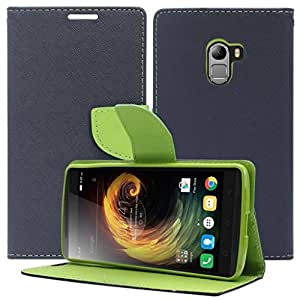 PES Luxury Wallet Style Diary Flip Cover with Card Holder and Stand For Lenovo Vibe K4 Note - Green Blue