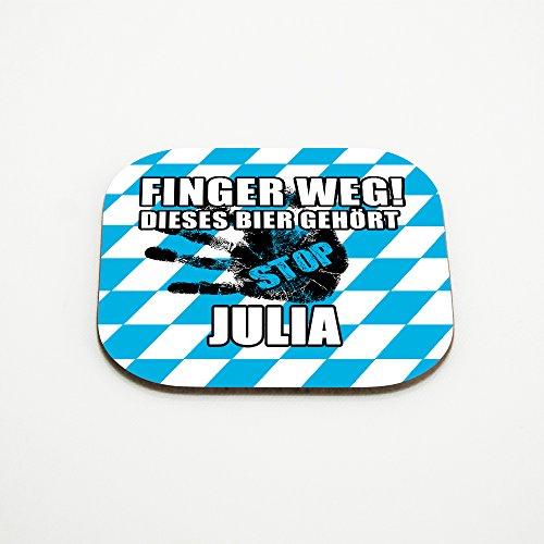 Untersetzer für Gläser mit Namen Julia und schönem Motiv - Finger weg! Dieses Bier gehört Julia