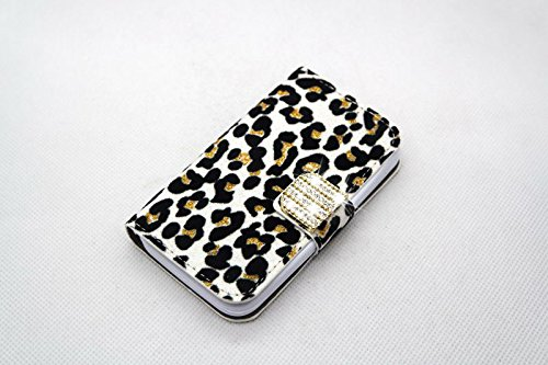 white Sexy Luxury Bling Crystal Diamond Leopard Wallet Purse PU Leather Magnetic Flip Wallet Case Cover For Samsung GALAXY S BLAZE 4G T769