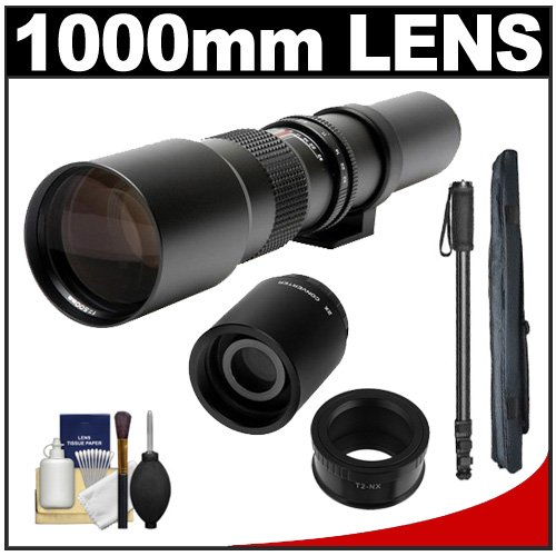 Samyang 500Mm F/8.0 Telephoto Lens (T Mount) With 2X Teleconverter (=1000Mm) + Monopod + Accessory Kit For Samsung Nx20, Nx200, Nx210 & Nx1000 Digital Cameras