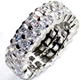 Celebrity Eternity Ring. Princess Cut Swarovski Crystals. Outstanding Quality Band. Rhodium Electroplated.