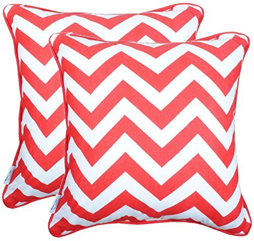 Red Throw Pillow Covers Set of 2 for Sofa / Couch Red Chevron Stripes Printed on White Base Matching Border Piping Cushion Cases Made of 100% Cotton (2, Red)