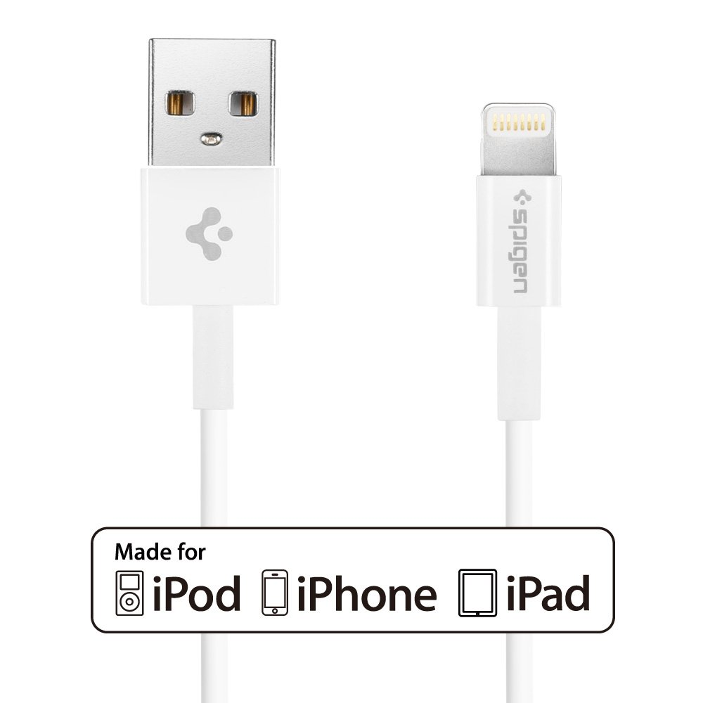 Lightning Cable, Spigen® (Ultra Compact Connector Head) 3.3FT LONG (C10LS) Apple MFi Certified Lightning to USB Cable (iOS 8 Compatible) for iPhone 6/6 Plus/5S/5/5C/iPad Mini/Air - C10LS (SGP11575)