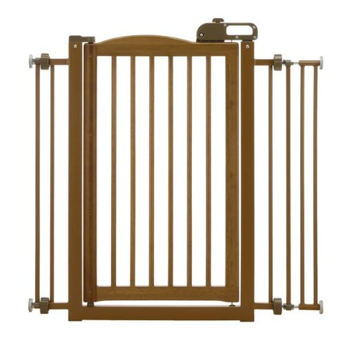 Richell Home Decor Wood One Touch Pet Safety Free-standing Lock Door Stair Gate Brown