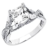 14K White Gold High Poliosh Finish Princess-cut 1.75 CTW Equivalent Top Quality Shines CZ Cubic Zirconia Ladies Solitaire Wedding Engagement Ring Band