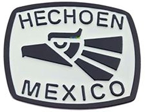 Hecho En Mexico Black and White Belt Buckle.