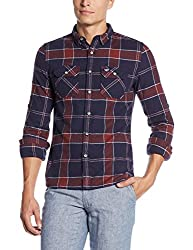 Superdry Men's Casual Shirt(5054265722516_M40001EN_S_Navy Tundra Grindle Check)
