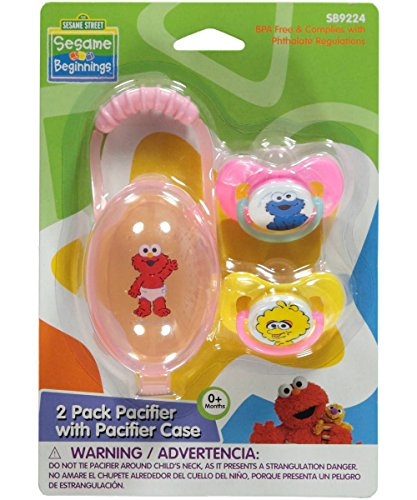 "Sesame Street ""Trio of Characters"" 2-Pack Pacifiers with Case - pink, one size"