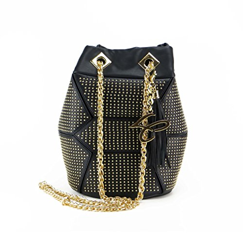 SECCHIELLO LA CARRIE BAG 162-S-173 NERO MICROBORCHIE GOLD MIS. SMALL