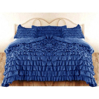 Soft & Comfort 400 Threadcount 3 Peice King Size Waterfall Ruffle Duvet Set In Solid Royal Blue By Egyptiancottonstore front-996656