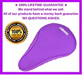 """Premium PURPLE Bike Gel Seat Cushion Cover 10.5""""x7"""" Domain Cycling - Most Comfortable Bicycle Saddle Pad for Spin Class or Outdoor Biking"""
