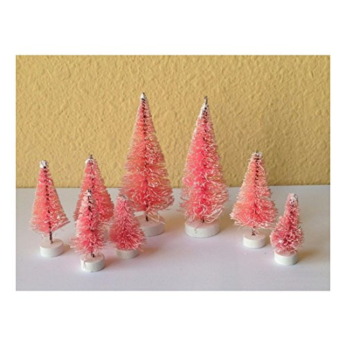 Set of 8 Mini Pink Sisal Bottle Brush CHRISTMAS TREES ~ Snow Frost Village Putz (Snow Brush Pink compare prices)