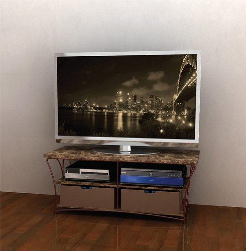 Cheap Flat Panel LCD TV Stand with Brown Marble Shelves and Brown Frame (AZ00-49041×21157)