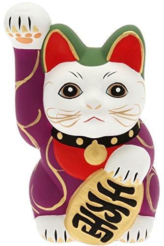 Kotobuki Maneki Neko Lucky Cat Coin Bank with Karakusa Spiral Vine Pattern, Purple