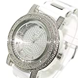 Mens Rolling Rocks Iced out Chrome Hiphop Bling White Rubber strap Watch
