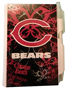 Chicago Bears NFL Sports Team Logo Home Office Garage School Personal Hardcover Mini Notepad Pink Fashionable Design with Small Clickable Pen - Pink Pocket Notes