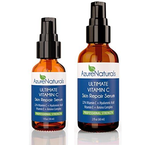 Azure Naturals - ULTIMATE Vitamin C Serum 22% Advanced Proprietary Blend Vitamin C E Ferulic + 11% Hyaluronic + 1% E + 1% Ferulic Acid + Tamanu (Azure Naturals compare prices)