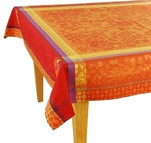 Orange French Tablecloth - Woven Cotton 63x78 - Les Tissage Du Soleil