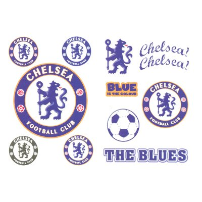 Set of ten Chelsea FC temporary tattoos. Average 2.5″ per tattoo.