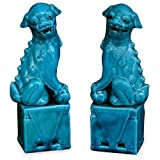 Chinese Porcelain Teal Blue Foo Dogs (Pair) - 10in