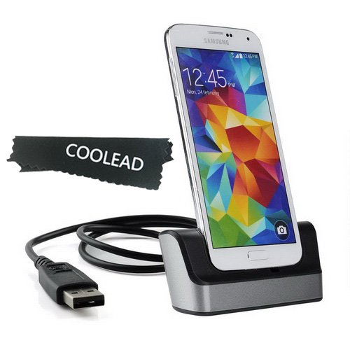Coolead- Usb 3.0 Sync Data Desktop Charging Dock Charging Stand With Spare Battery Charger Slot For Samsung Galaxy S5 I9600 +Free Microfiber Cloth (Grey)